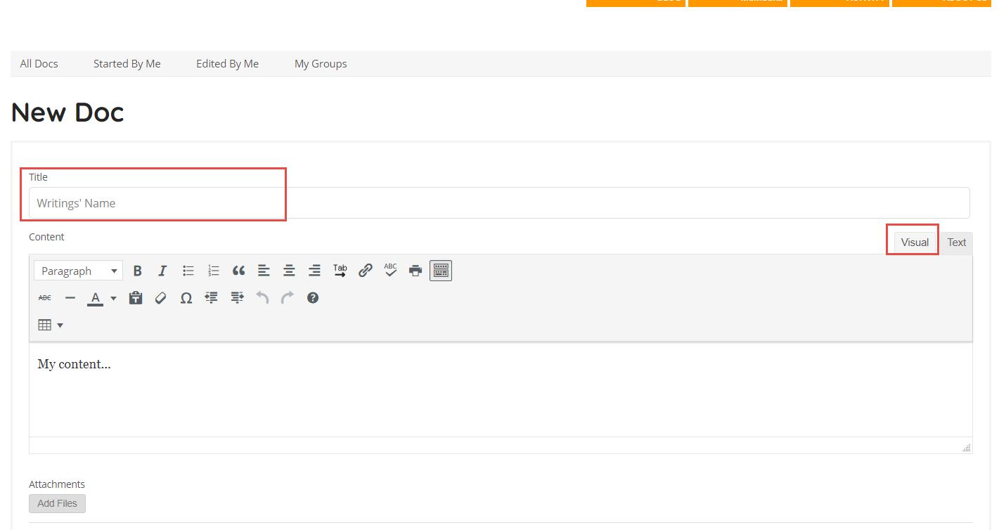 Create New DocPage