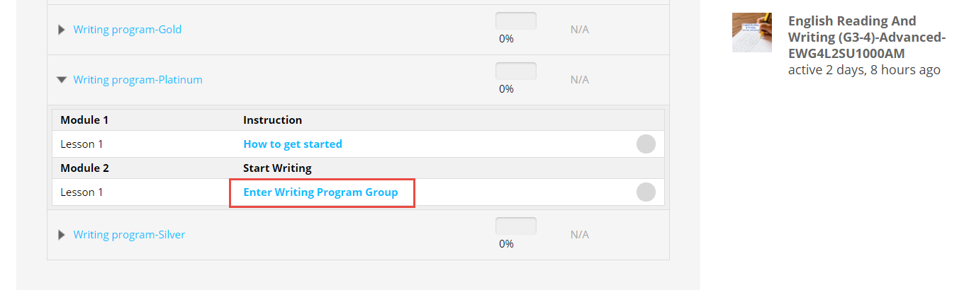 Enter Writing Program Group